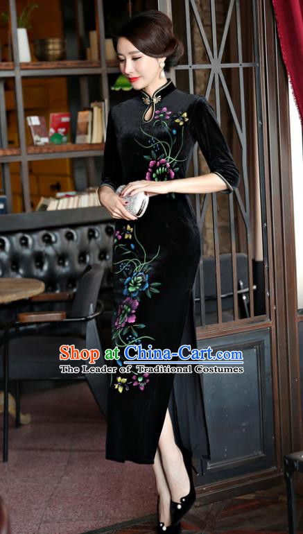 Top Grade Chinese Traditional Black Velvet Qipao Dress National Costume Tang Suit Mandarin Cheongsam for Women