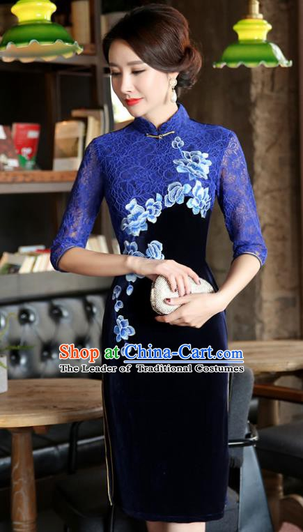 Top Grade Chinese Traditional Blue Lace Qipao Dress National Costume Tang Suit Mandarin Cheongsam for Women