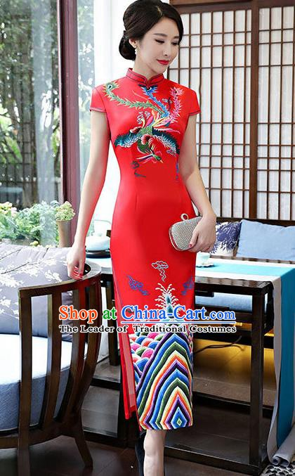 Top Grade Chinese Traditional Red Silk Qipao Dress National Costume Tang Suit Mandarin Cheongsam for Women