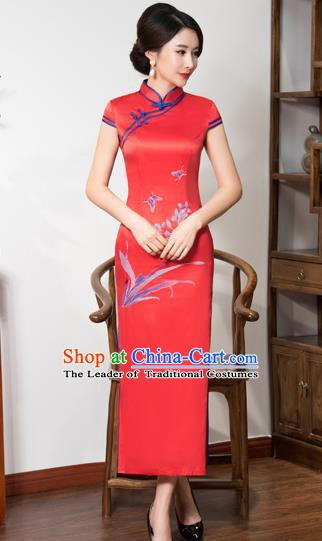 Top Grade Chinese Traditional Printing Orchid Qipao Dress National Costume Red Silk Mandarin Cheongsam for Women