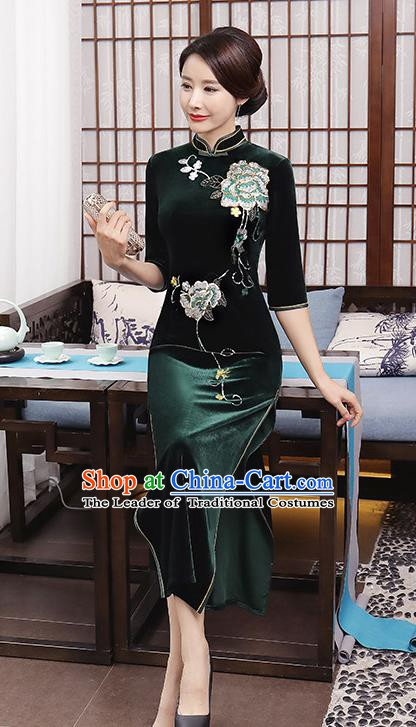 Top Grade Chinese Traditional Qipao Dress National Costume Green Velvet Mandarin Cheongsam for Women