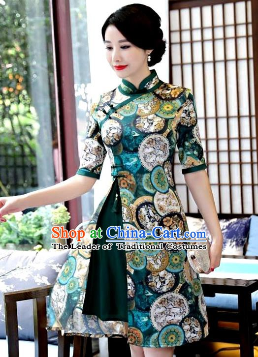 Top Grade Chinese Green Watered Gauze Qipao Dress National Costume Traditional Mandarin Cheongsam for Women