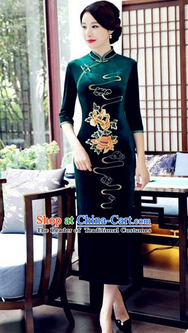 Top Grade Chinese Embroidered Qipao Dress National Costume Traditional Green Velvet Mandarin Cheongsam for Women