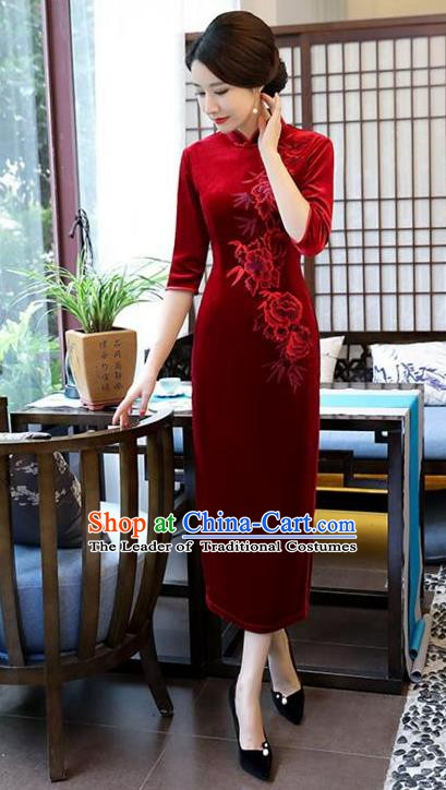 Top Grade Chinese Embroidered Qipao Dress National Costume Traditional Red Velvet Mandarin Cheongsam for Women