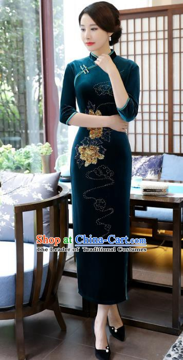 Top Grade Chinese Atrovirens Velvet Qipao Dress National Costume Traditional Mandarin Cheongsam for Women