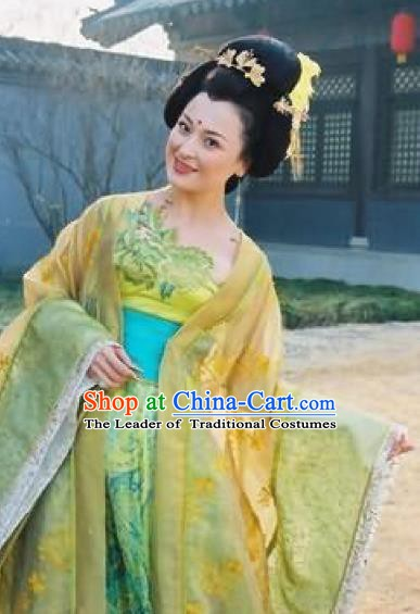 Chinese Ancient Tang Dynasty Imperial Consort Yang Embroidered Hanfu Dress Replica Costume for Women
