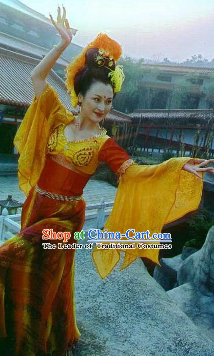 Chinese Ancient Tang Dynasty Imperial Consort Yang Yuhuan Dance Dress Embroidered Replica Costume for Women