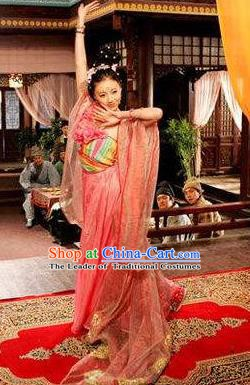 Chinese Ancient Tang Dynasty Courtesan Dance Dress Replica Costume for Women