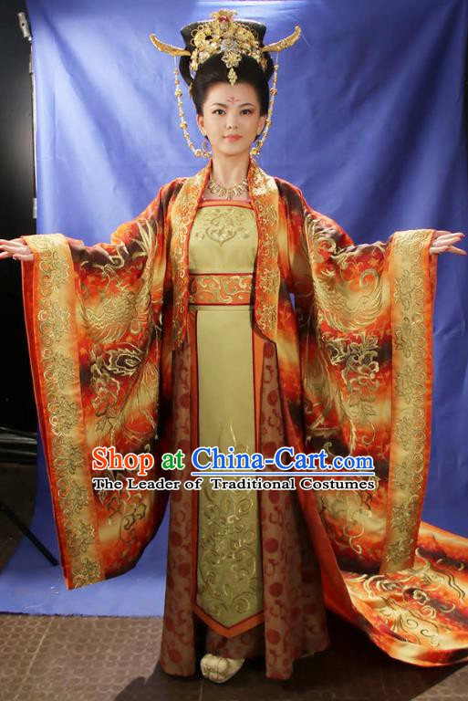 Ancient Chinese Tang Dynasty Queen Wu Zetian Palace Lady Embroidered Dress Replica Costume for Women