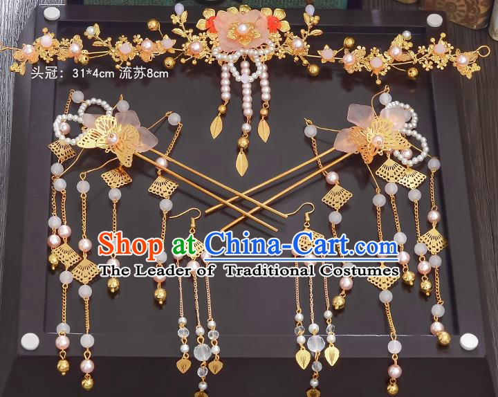 Traditional Chinese Ancient Bride Hair Accessories Xiuhe Suit Hairpins Flowers Hair Comb Complete Set for Women
