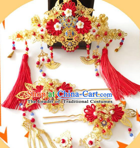 Traditional Chinese Ancient Wedding Hair Accessories Xiuhe Suit Hairpins Tassel Phoenix Coronet for Women