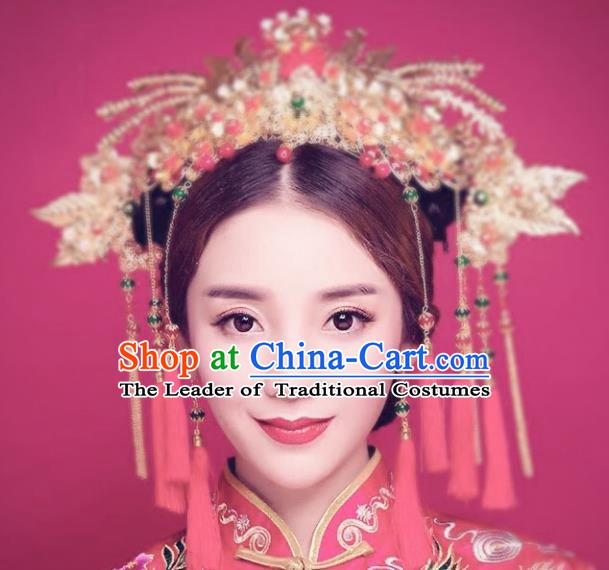 Traditional Chinese Ancient Wedding Hair Accessories Hairpins Tassel Phoenix Coronet Complete Set for Women