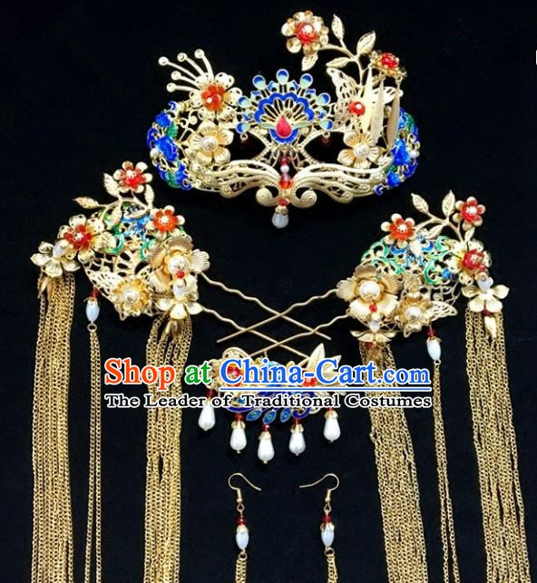 Traditional Chinese Ancient Wedding Phoenix Coronet Hair Accessories Cloisonne Hairpins Complete Set for Women