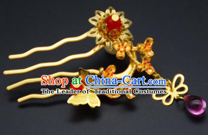 Traditional Chinese Ancient Bride Hair Accessories Golden Hairpins Hair Comb for Women