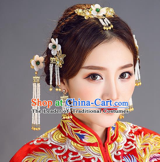 Traditional Chinese Ancient Bride Hair Accessories Xiuhe Suit Hair Comb Hairpins Complete Set for Women