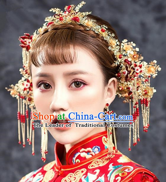 Traditional Chinese Ancient Bride Hair Accessories Xiuhe Suit Wedding Phoenix Coronet Hairpins Complete Set for Women