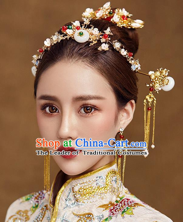 Traditional Chinese Ancient Bride Hair Accessories Xiuhe Suit Hairpins Hair Clasp Complete Set for Women