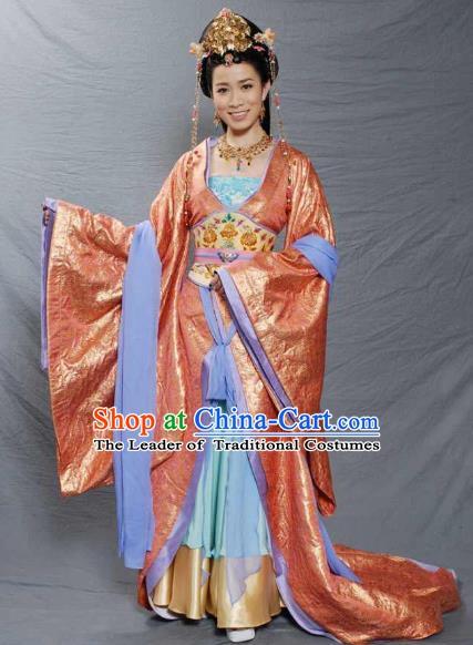 Traditional Chinese Ancient Princess Tang Dynasty Palace Lady Embroidered Replica Costume for Women