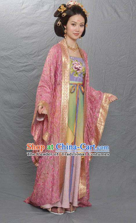 Traditional Chinese Tang Dynasty Princess Jinhuai Embroidered Dress Replica Costume for Women