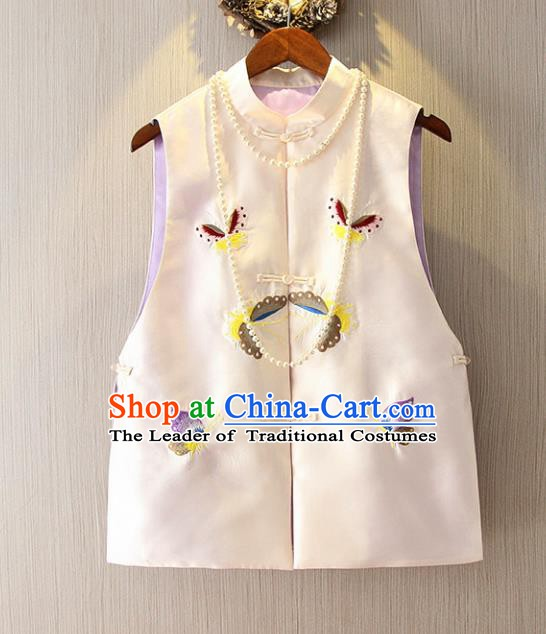 Chinese Traditional National Cheongsam Vest Tangsuit Embroidered Butterfly White Waistcoat for Women