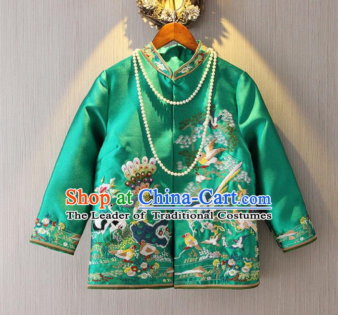 Chinese Traditional National Green Cheongsam Jacket Tangsuit Stand Collar Embroidered Coats for Women
