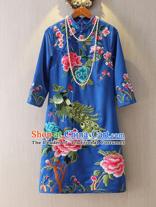 Chinese Traditional National Costume Blue Cheongsam Tangsuit Embroidered Peacock Dress for Women