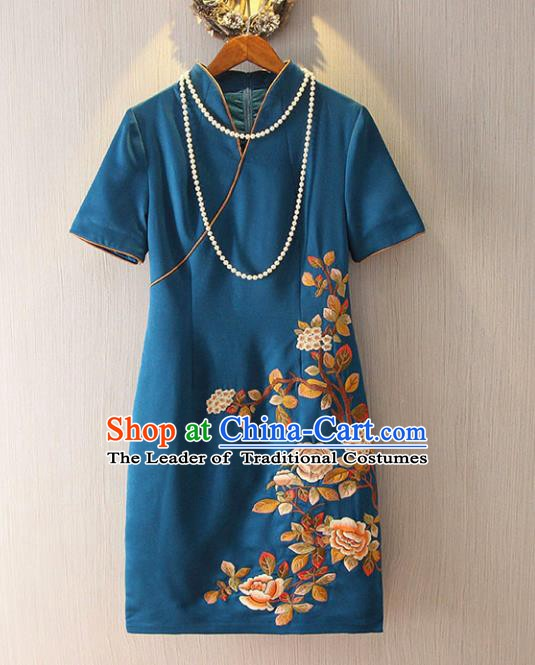 Chinese Traditional National Cheongsam Costume Embroidered Tangsuit Blue Dress for Women
