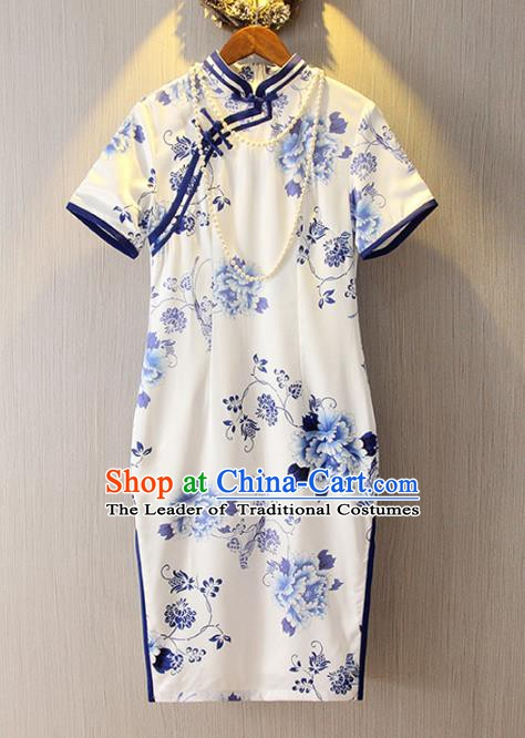 Chinese Traditional National Costume Blue and White Porcelain Cheongsam Qipao Dress for Women