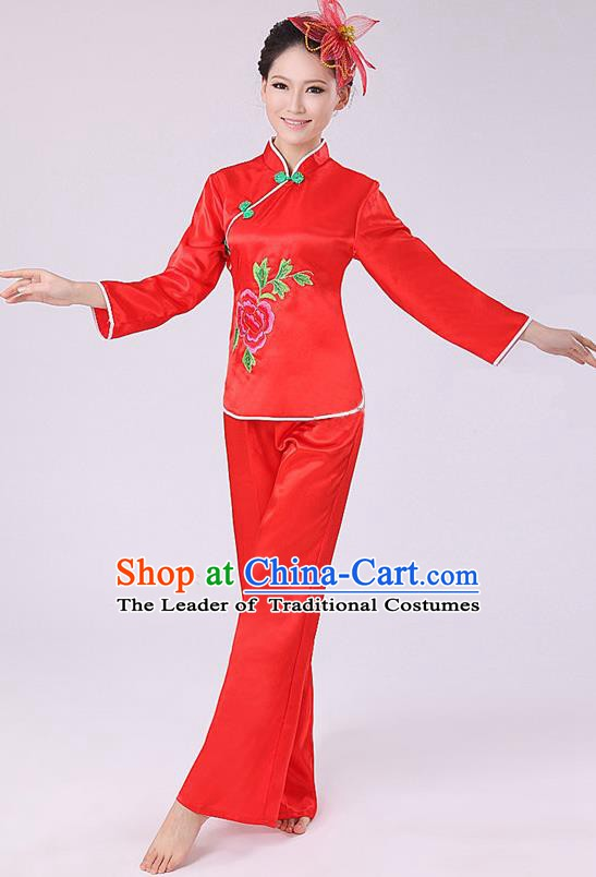 Chinese Traditional Fan Dance Costume, China Folk Dance Red Uniform Yangko Clothing for Women