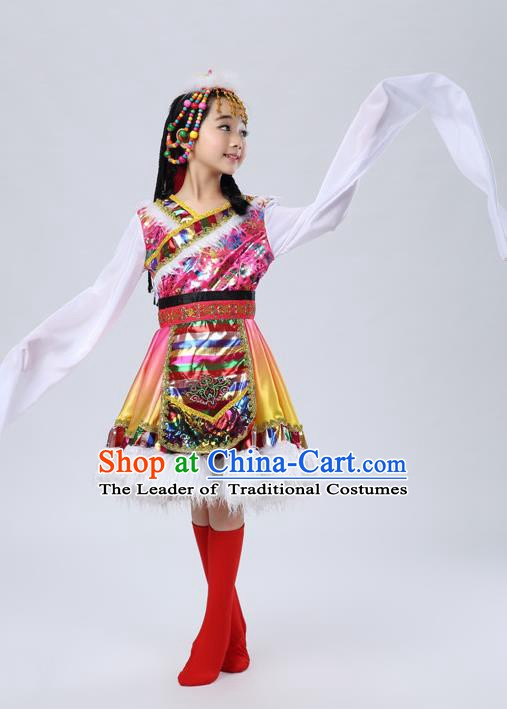 Traditional Chinese Mongol Nationality Dance Rosy Costume, Mongols Children Folk Dance Ethnic Pleated Skirt for Kids