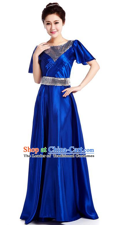 Chinese Classic Stage Performance Chorus Singing Group Costume, Chorus Competition Royalblue Dress for Women