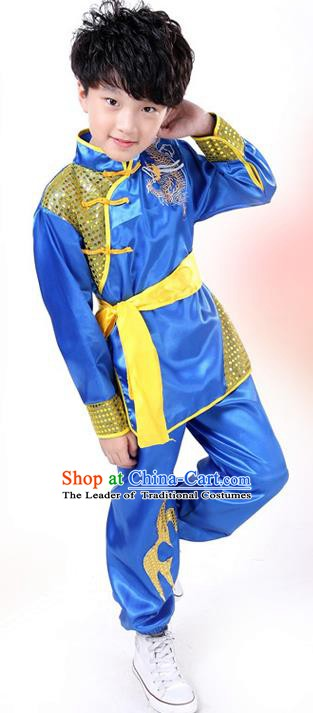 Traditional Chinese Yangge Dance Costume, Folk Dance Lion Dance Blue Uniform Yangko Clothing for Kids