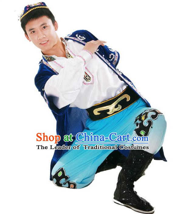 Traditional Chinese Uyghur Nationality Dance Costume, Chinese Uigurian Minority Nationality Dance Clothing for Men