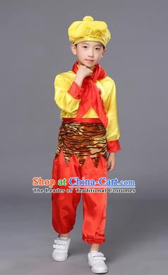 Top Grade Children Stage Performance Costume, Professional Cosplay Monkey King Classical Dance Clothing for Kids
