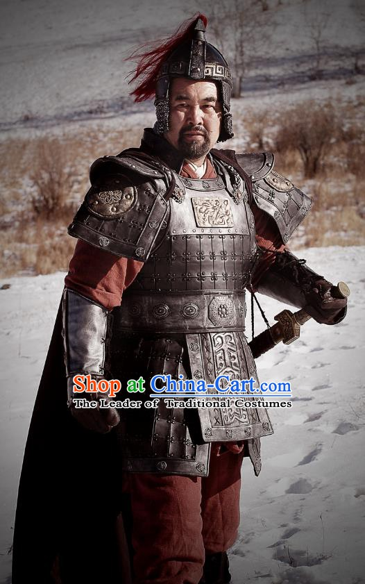 Chinese Ancient Han Dynasty General Xiao He Replica Costume Helmet and Armour for Men