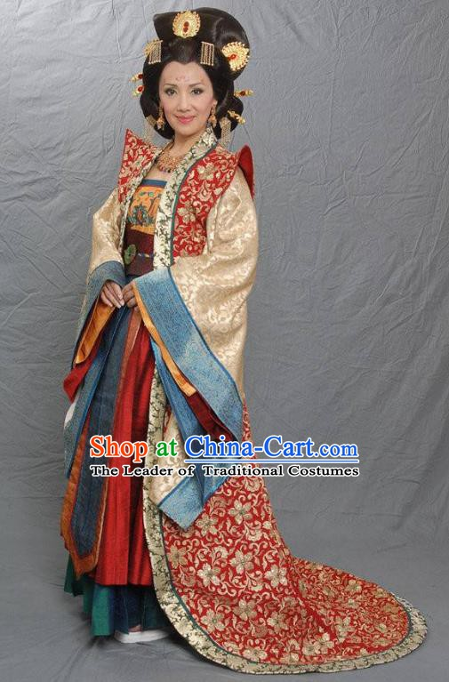 Chinese Tang Dynasty Dowager Concubine Zheng Embroidered Hanfu Dress Ancient Queen Mother Replica Costume for Women