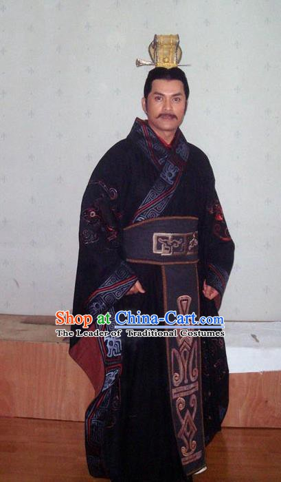 Chinese Ancient Han Dynasty Emperor Gaozu Liu Bang Replica Costume Embroidered Imperial Robe for Men