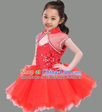 Top Grade Stage Performance Children Compere Costume, Professional Chorus Singing Red Bubble Dress for Kids