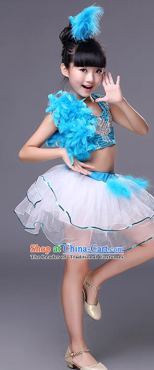 Top Grade Stage Performance Jazz Dance Costume, Professional Modern Dance Blue Clothing for Kids