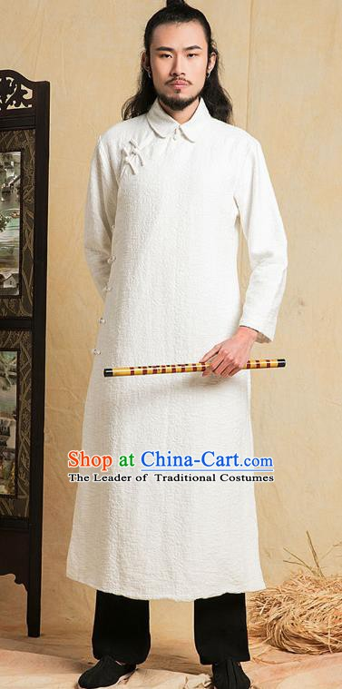 Top Grade Kung Fu Costume Martial Arts Training Plated Buttons White Long Gown Gongfu Wushu Tang Suit Clothing for Men
