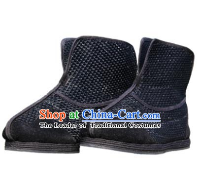 Chinese Traditional Handmade Cloth Shoes Tai Chi Black Boots Martial Arts Shoes Kung Fu Shoes for Men