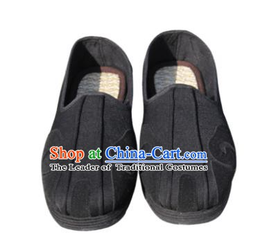 Chinese Traditional Handmade Tai Chi Black Cloth Shoes Martial Arts Shoes Kung Fu Shoes for Men