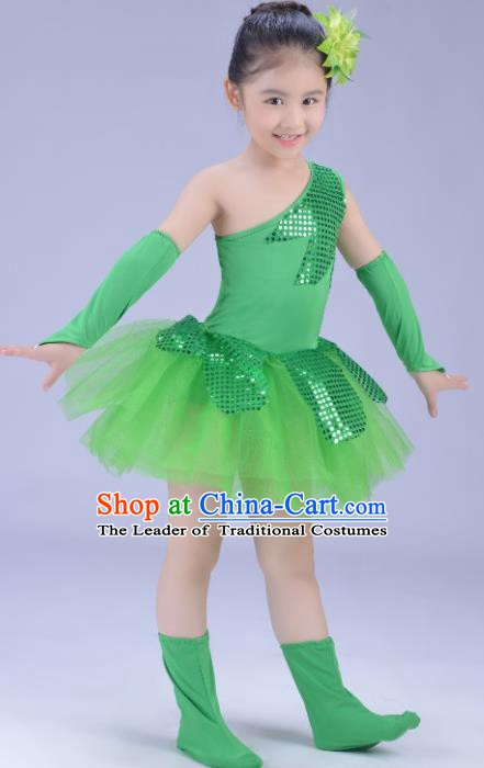 Top Grade Stage Performance Dance Costume, Professional Modern Dance Green Dress for Kids