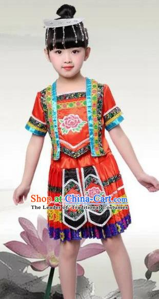 Traditional Chinese Ethnic Costume Red Dress Chinese Miao Minority Nationality Dance Clothing for Kids