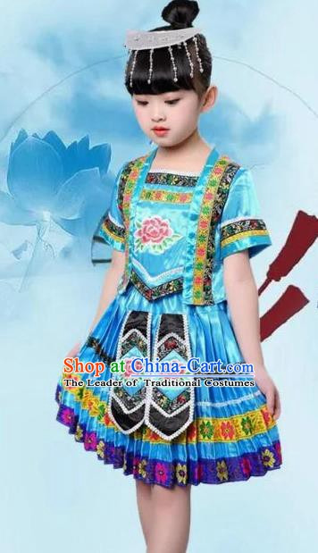 Traditional Chinese Ethnic Costume Blue Dress Chinese Miao Minority Nationality Dance Clothing for Kids