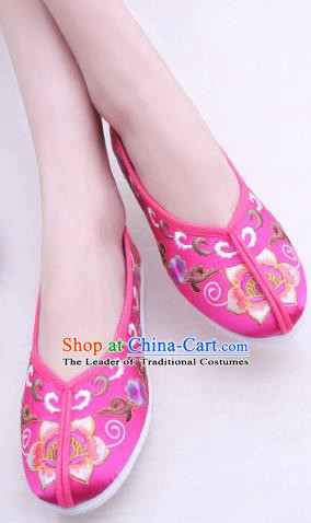 Chinese Traditional Handmade Embroidery Shoes Rosy Embroidered Shoes for Women