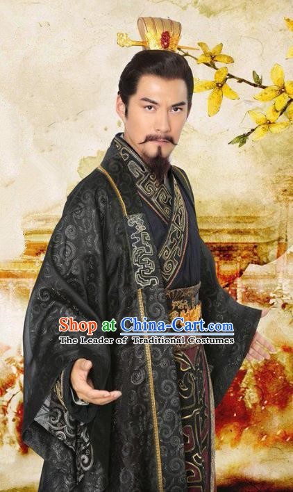 Chinese Ancient Three Kingdoms Period Shu Kingdom Majesty Liu Bei Replica Costume for Men