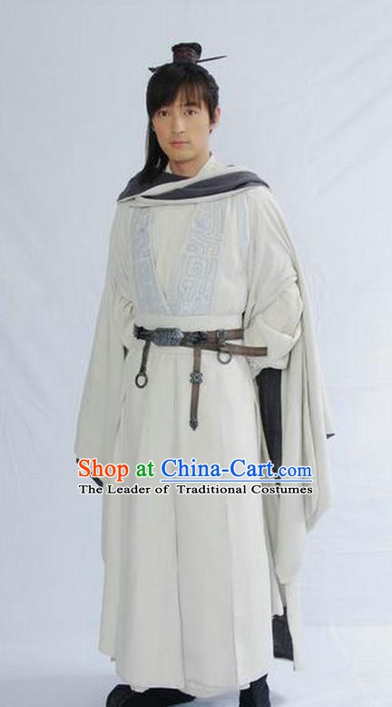 Chinese Ancient Qin Dynasty Swordsman Knight-errant Replica Costume for Men