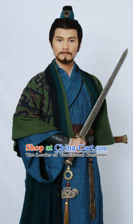 Chinese Ancient Qin Dynasty Military Officer General Meng Tian Replica Costume for Men