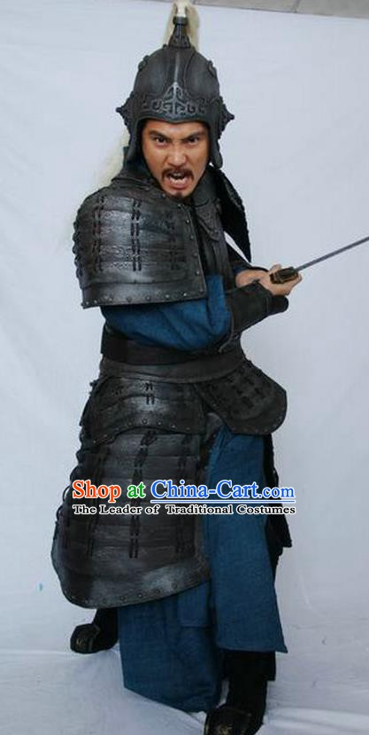 Chinese Ancient Qin Dynasty Military Officer Meng Tian Replica Costume Helmet and Armour Complete Set for Men